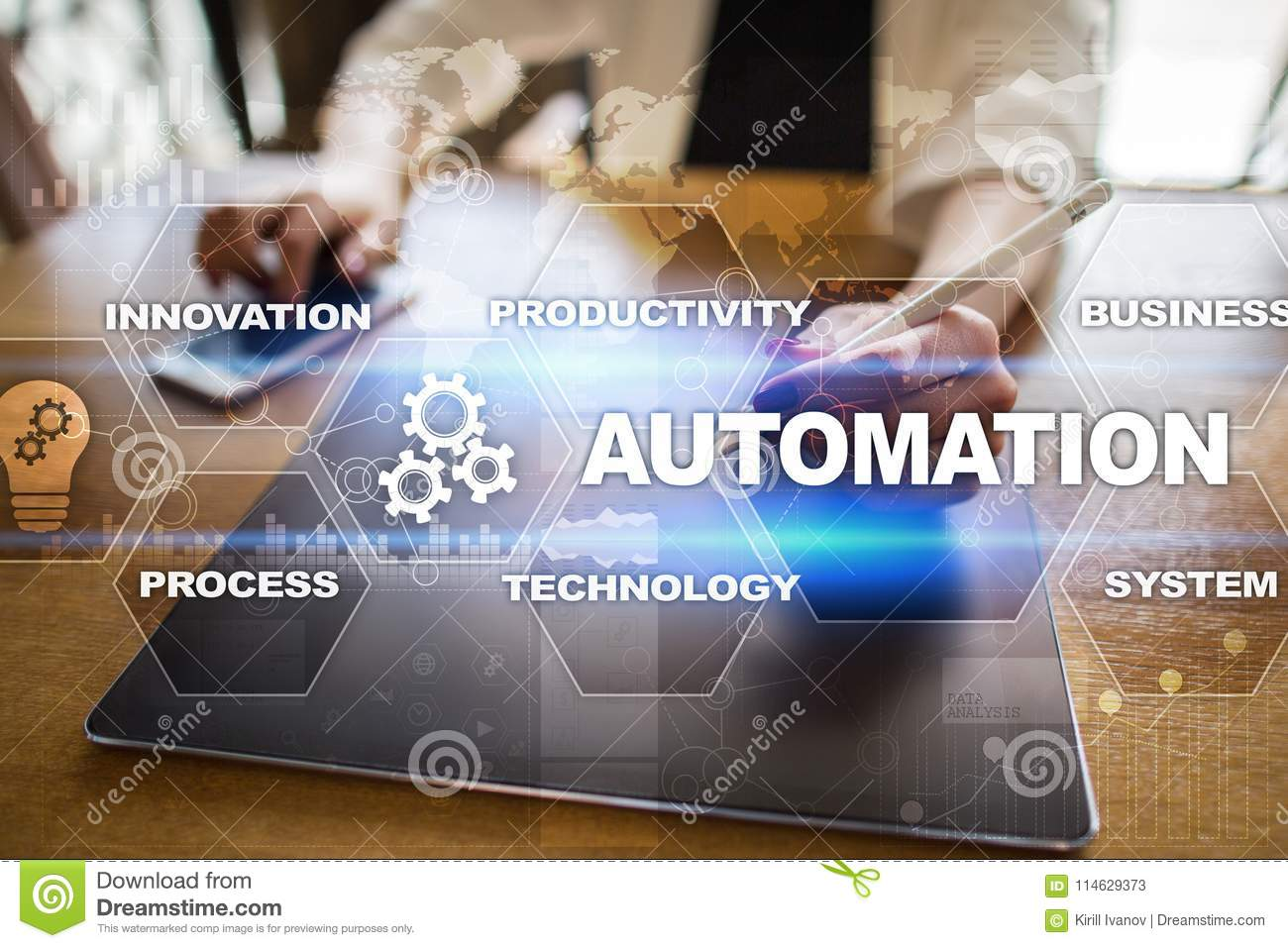 Automation concept as an innovation, improving productivity in technology and business processes.
