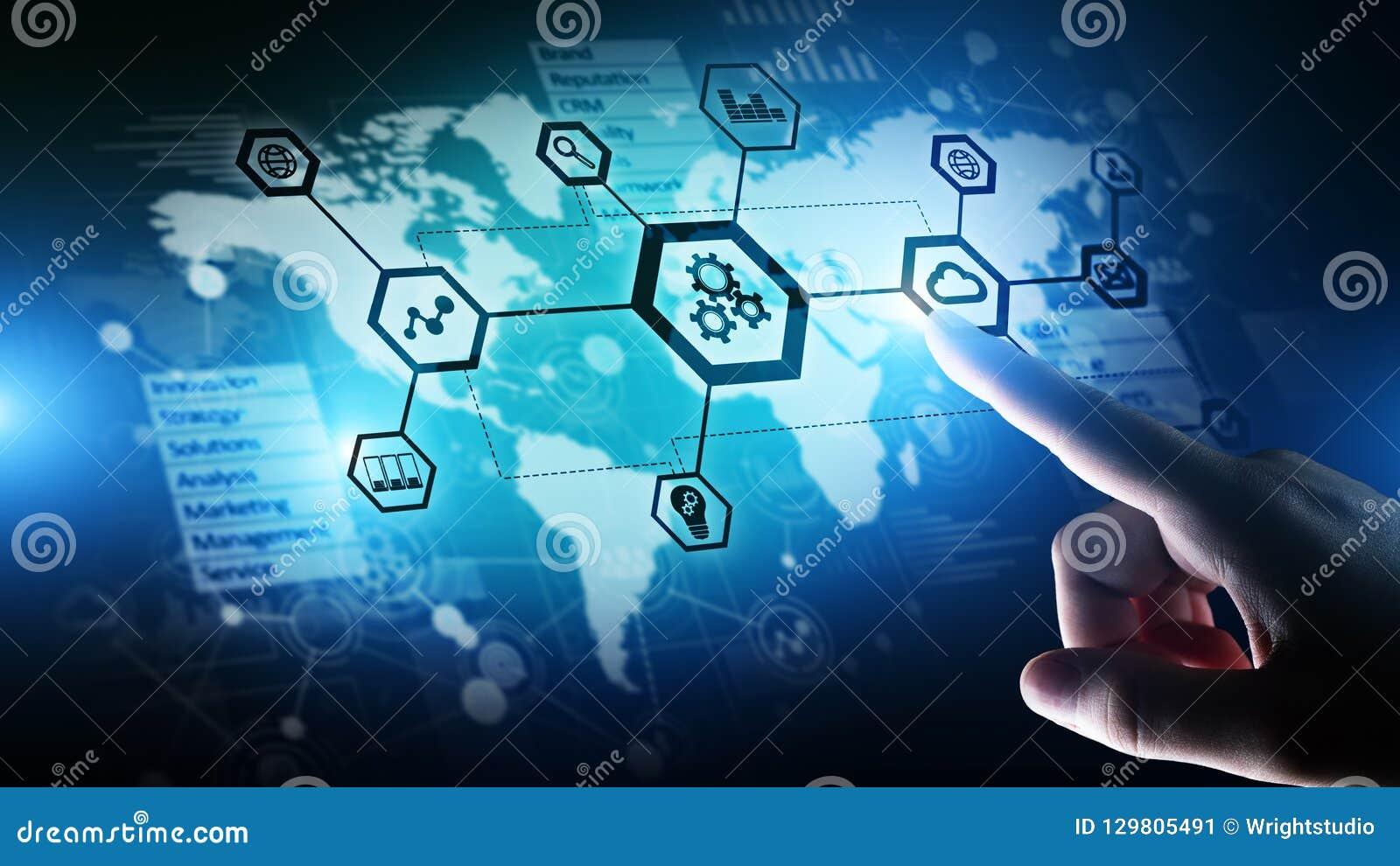 Automation och smart bransch 4 0, internet av saker IOT, kugghjul och systemstruktur på den faktiska skärmen