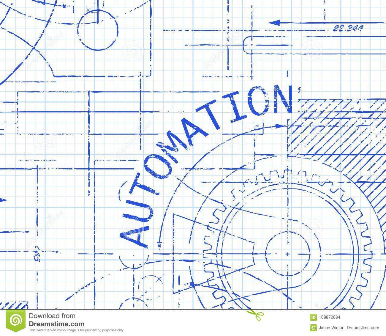 automation graph paper machine stock vector illustration of