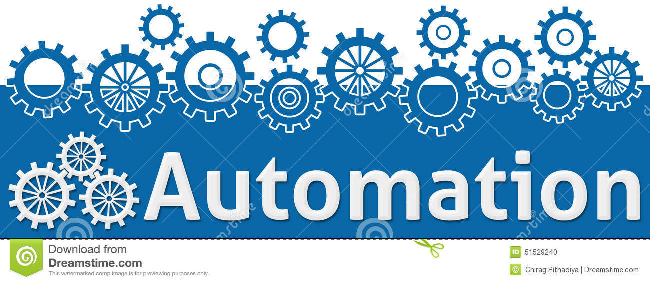 Automation Text With Gears On Top Stock Illustration Illustration
