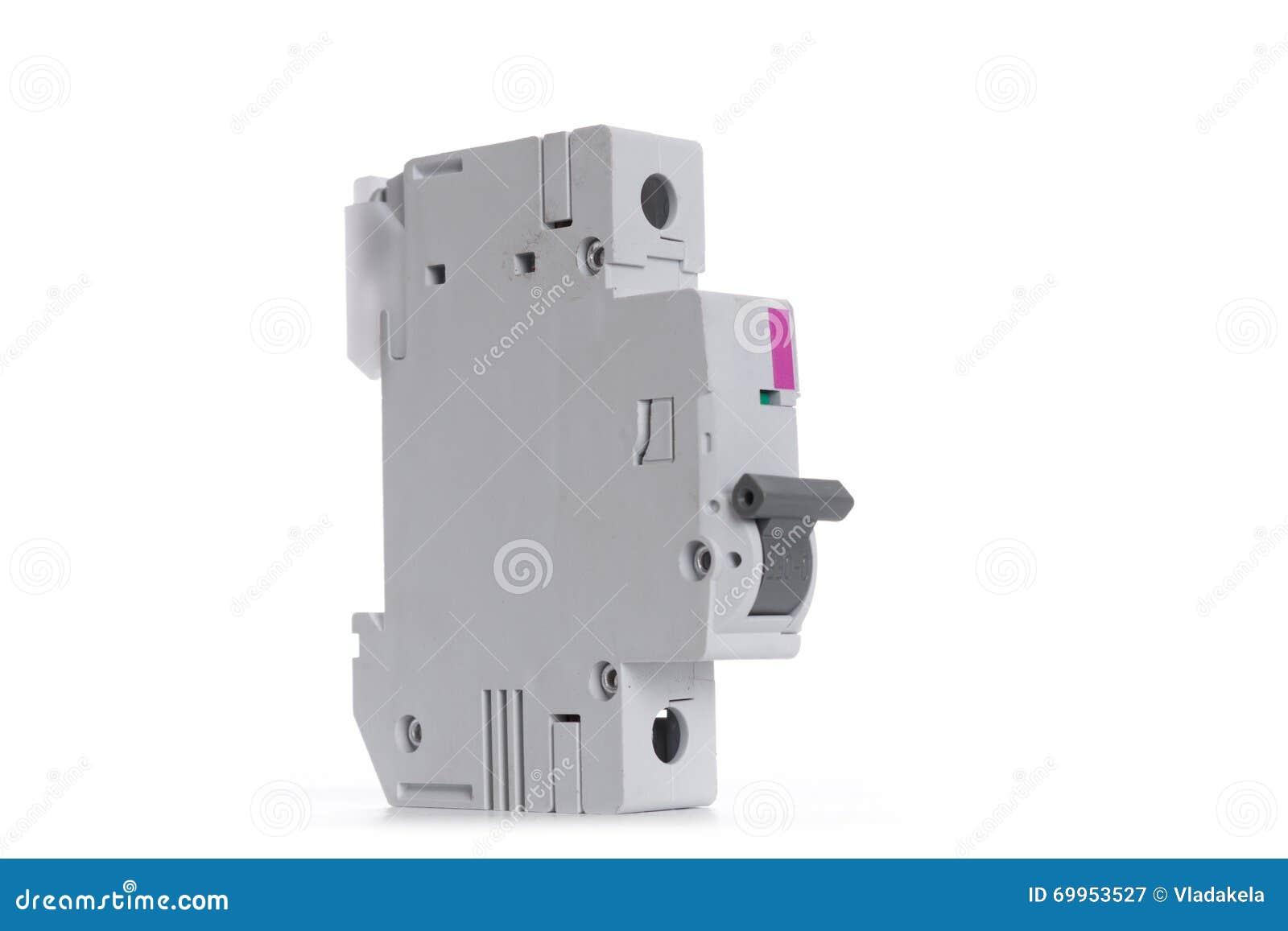 Automatischer Stromschalter Lokalisiert Auf Weißem Hintergrund Stock ...