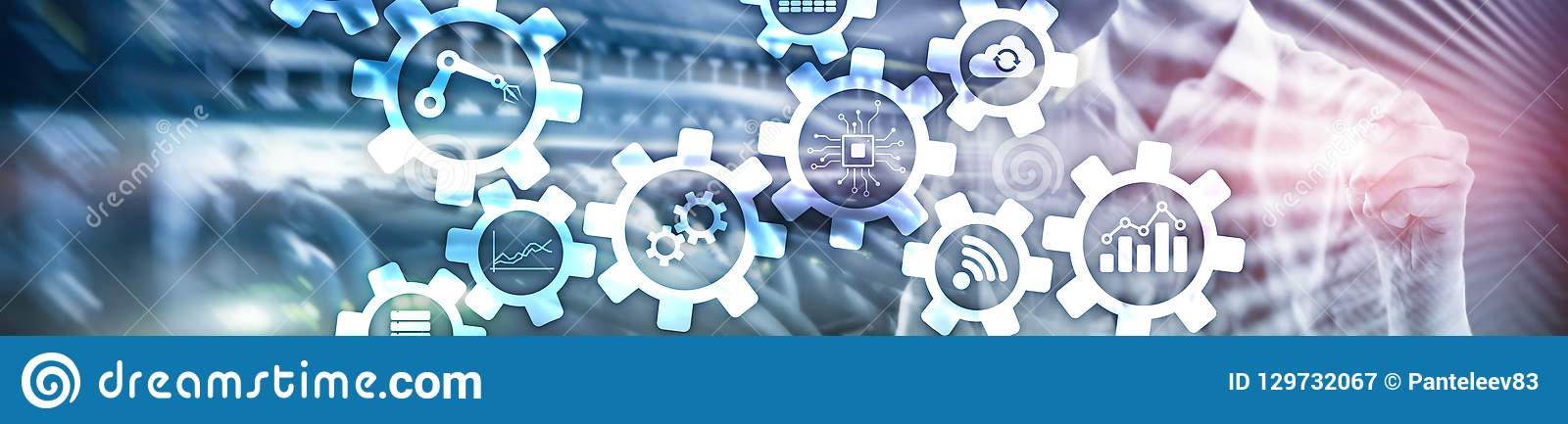 Automatiseringstechnologie en slim de industrieconcept op vage abstracte achtergrond Toestellen en pictogrammen De banner van de