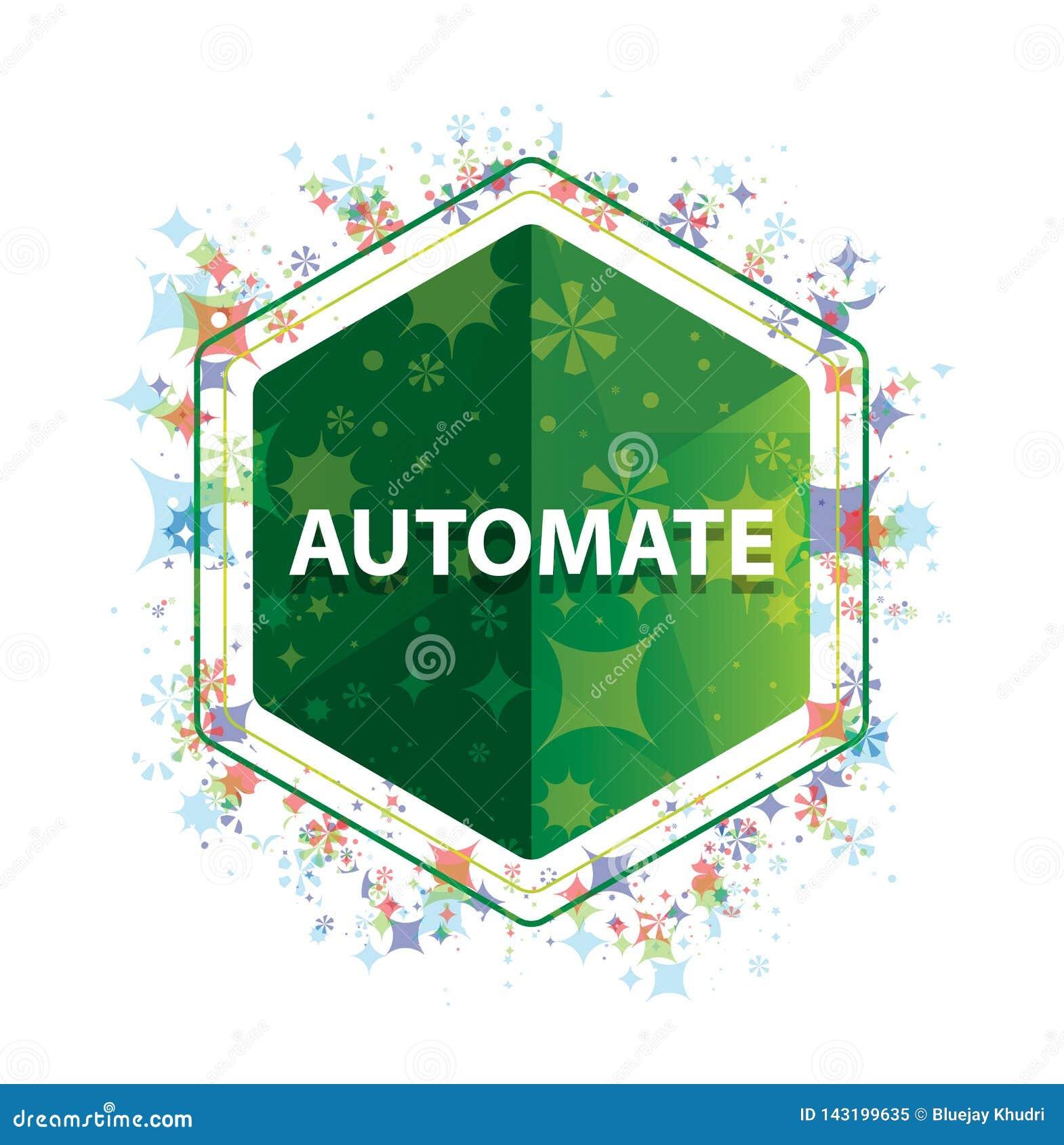 Automatisez le bouton floral d hexagone de vert de modèle d usines
