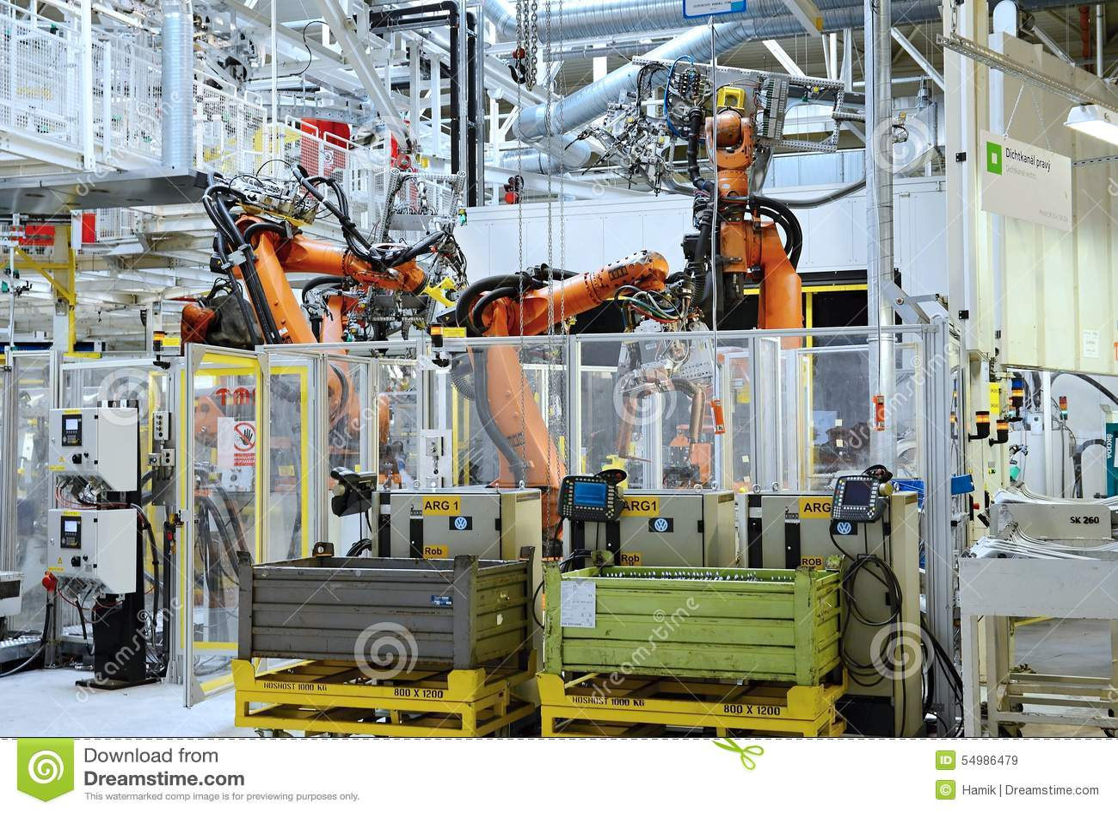 Automatisk robot i bilfabrik