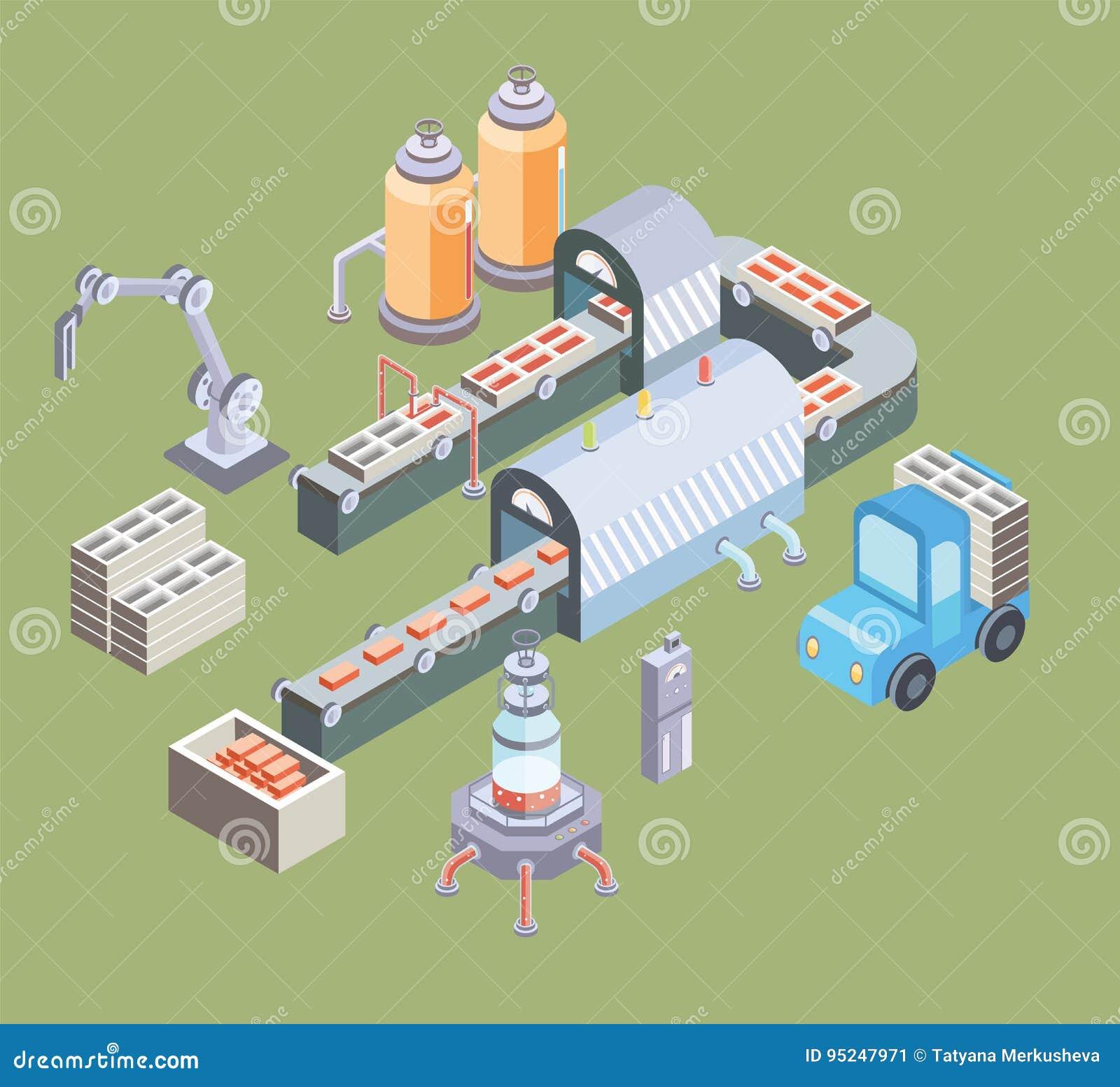 Automatyzująca linia produkcyjna Fabryczna podłoga z konwejerem i różnorodnymi maszynami Wektorowa ilustracja w isometric projekc