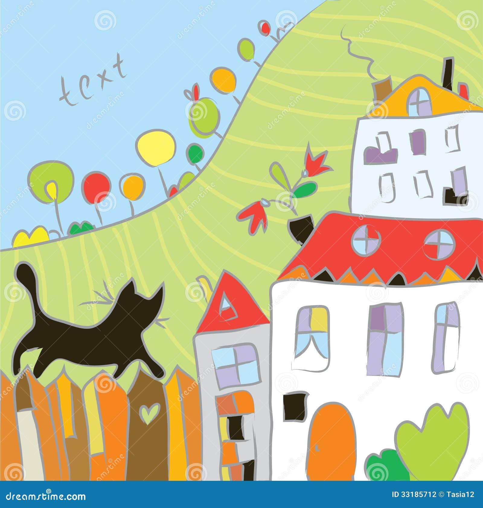 Automne de dessin d 39 enfant au village illustration de - Dessin village ...