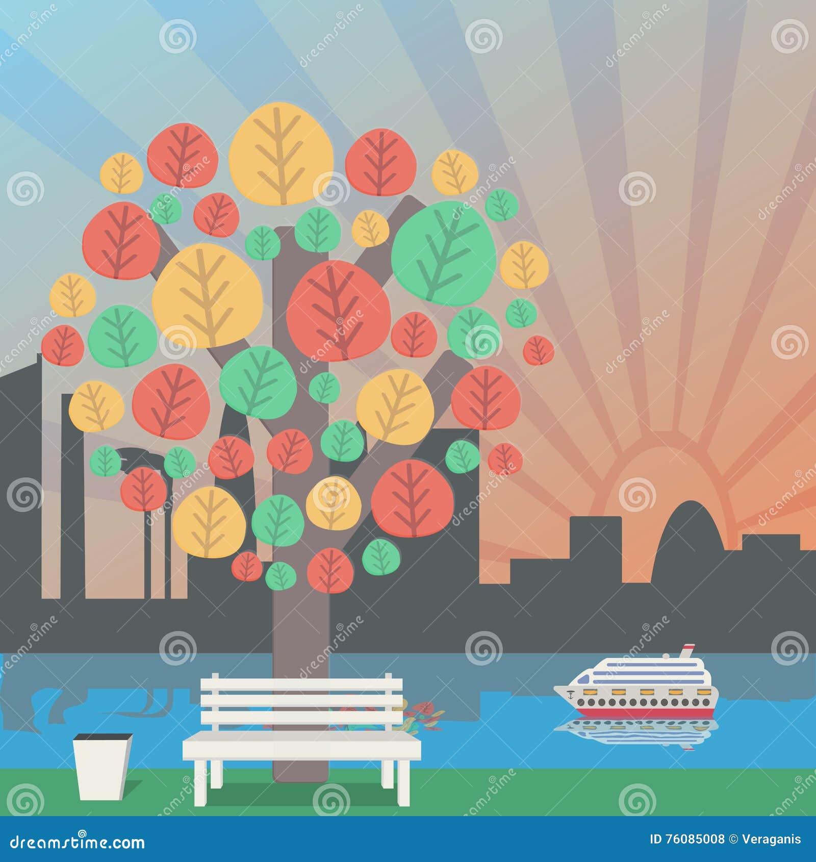 Automne en parc, l horizon de ville Arbre et banc d automne aux déchets
