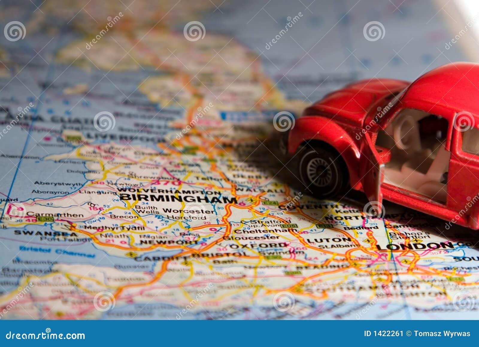 Automobil auf der Karte