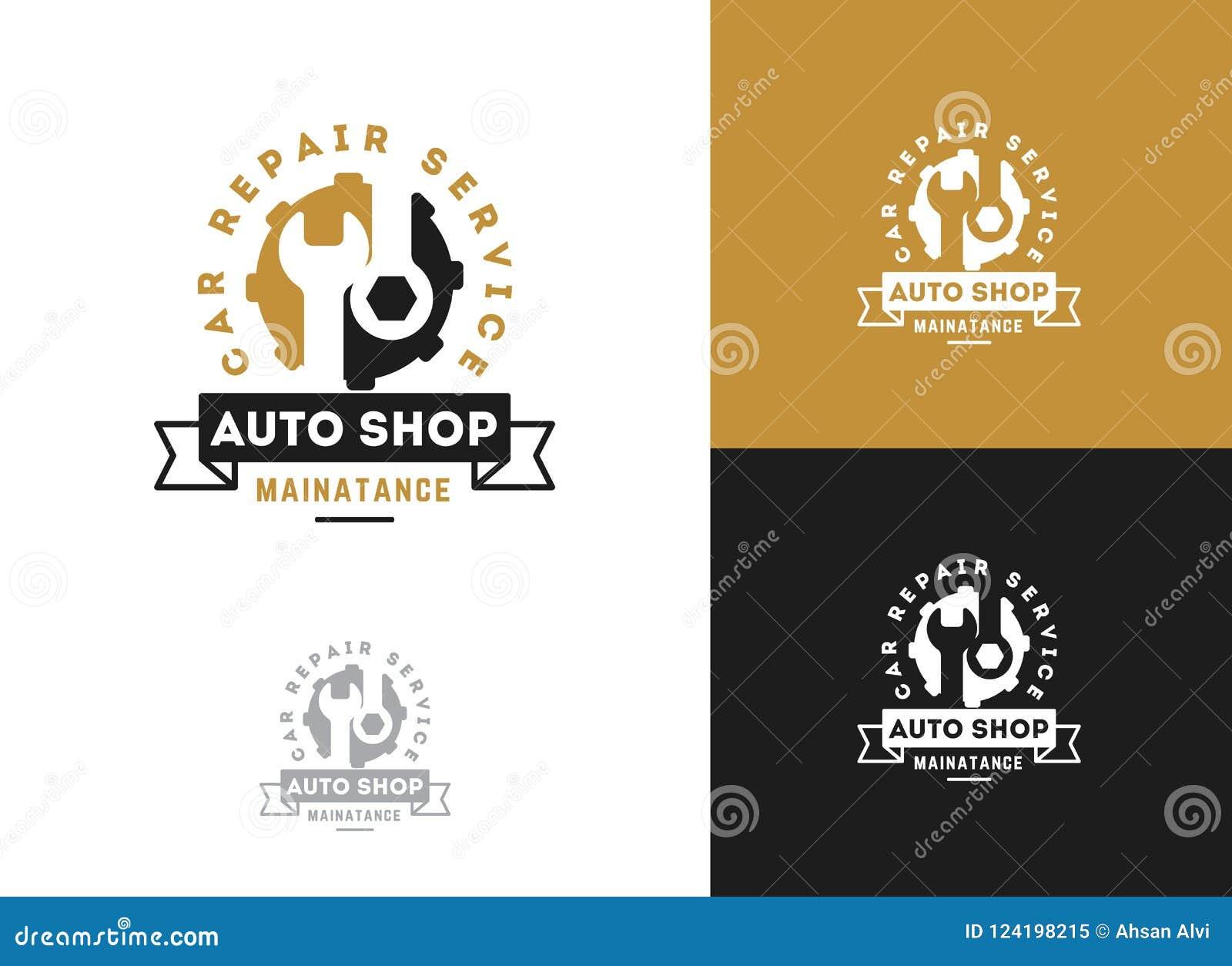 Automobil, Autoreparaturservice-Logodesign, Schlüssel in der Gangikone, Mechaniker bearbeitet Vektorillustration