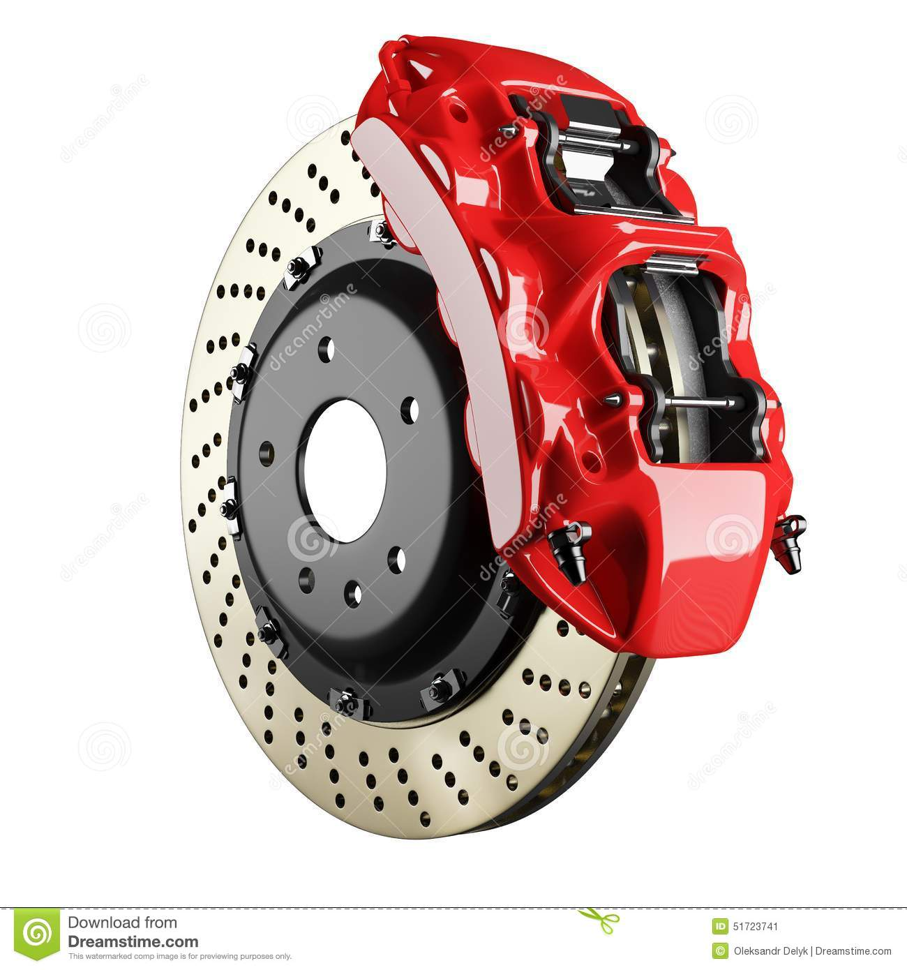 Vehicle Brake Parts : Automobile brake disk and red caliper stock illustration