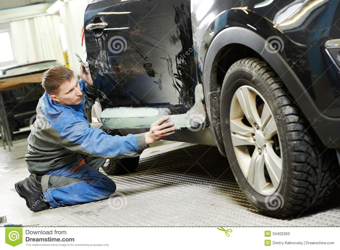 Automobile car body stopping stock image image of auto for Car paint shop
