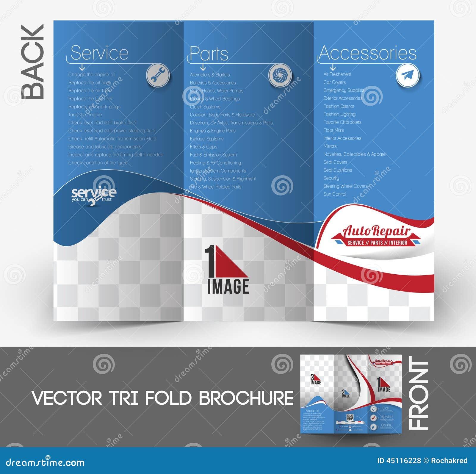 Automobile center tri fold brochure stock vector image for Automobile brochure design