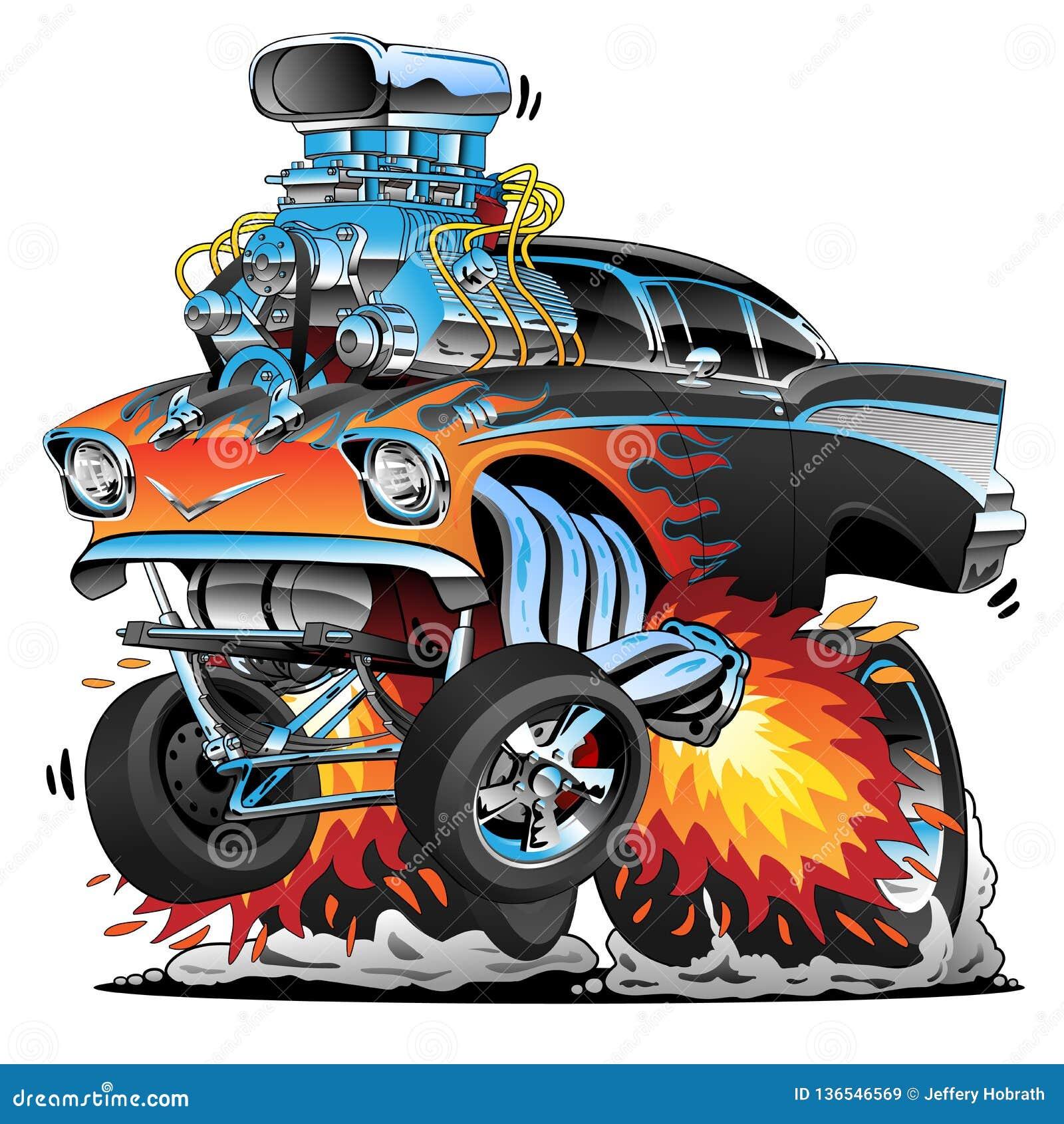 Automobile classica del muscolo del gasser di stile di anni  50 della barretta calda, fiamme, grande motore, illustrazione di vet