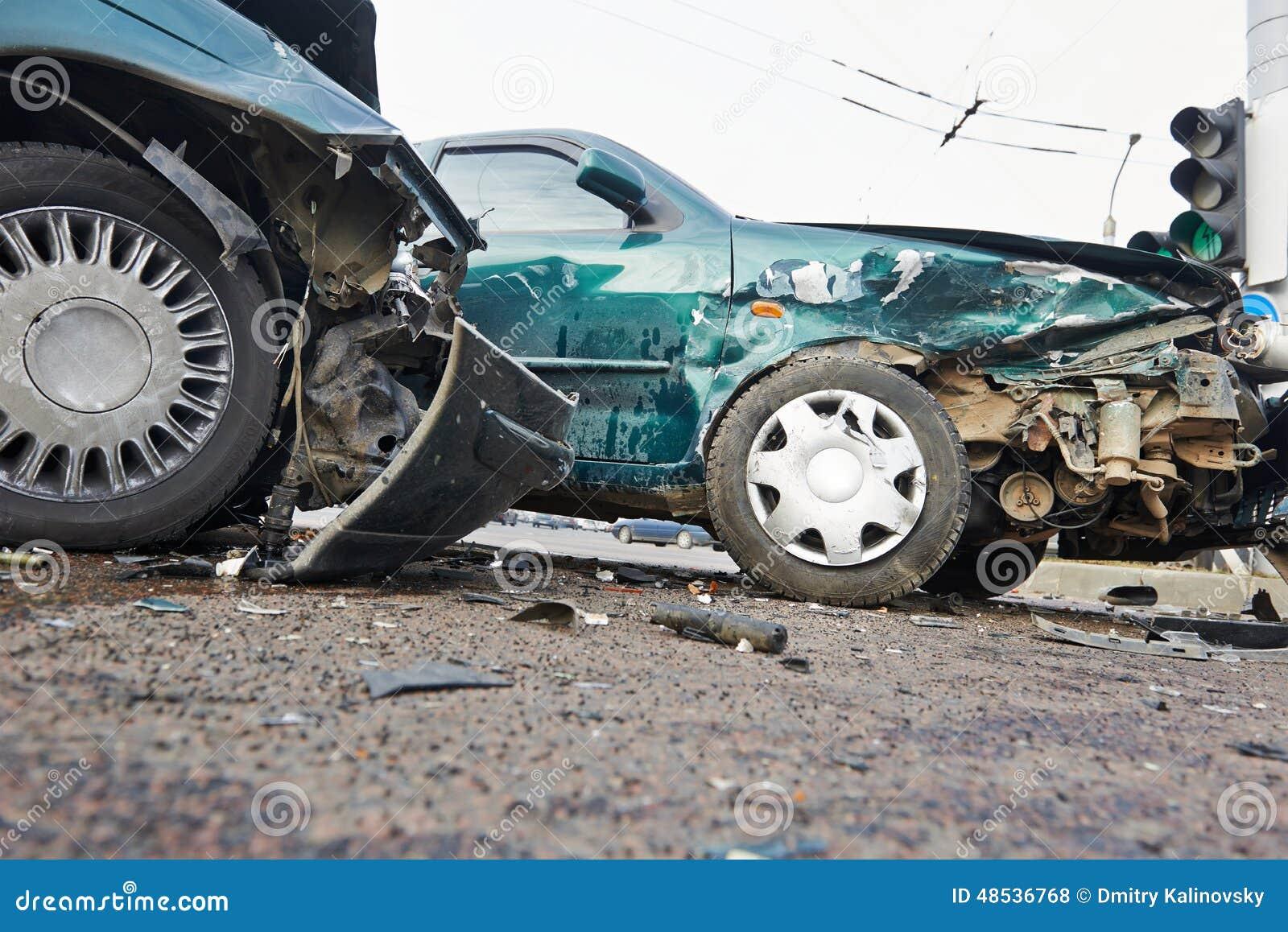 Automobile Crash Collision In Urban Street Stock Photo