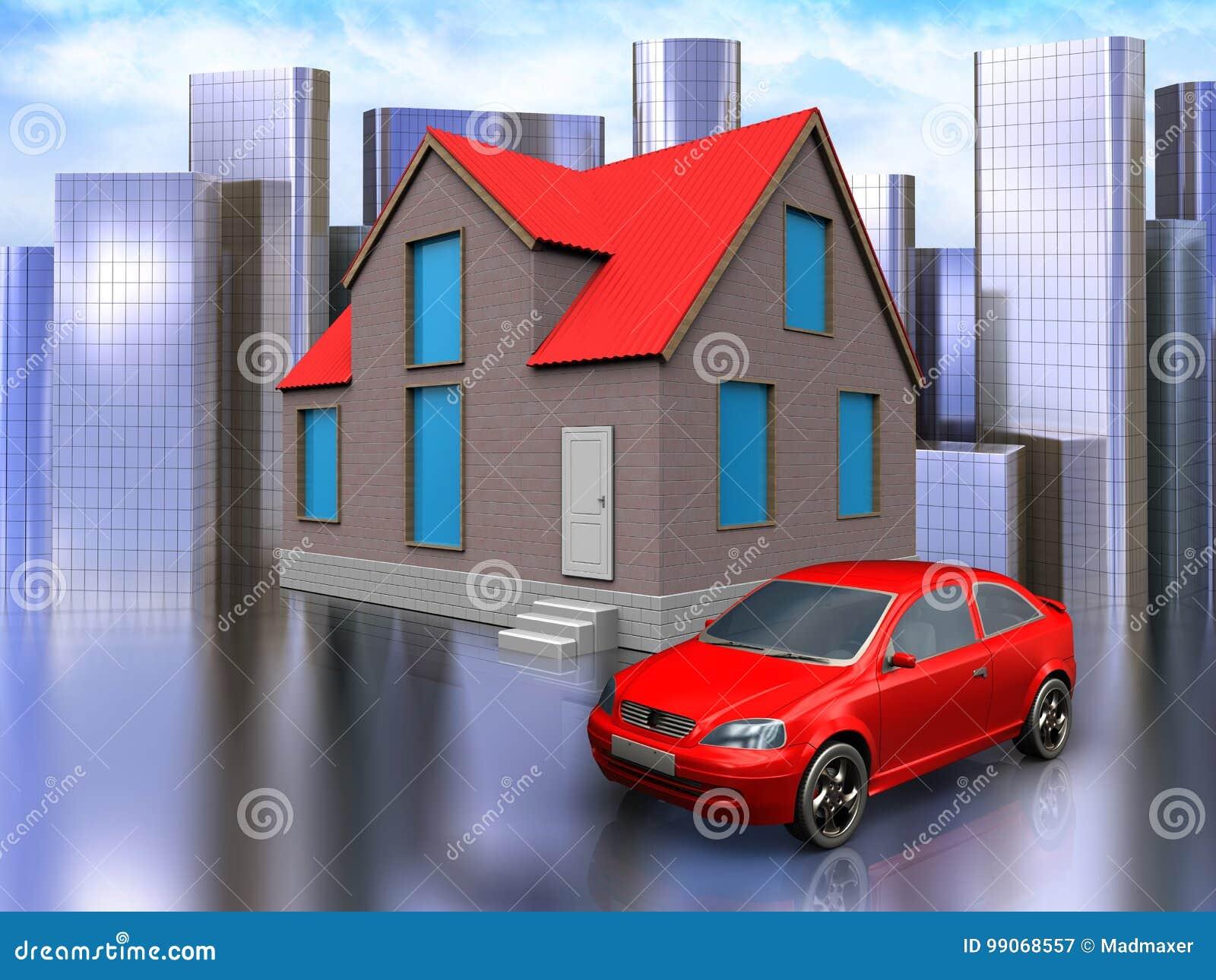 Automobile 3d sopra la città