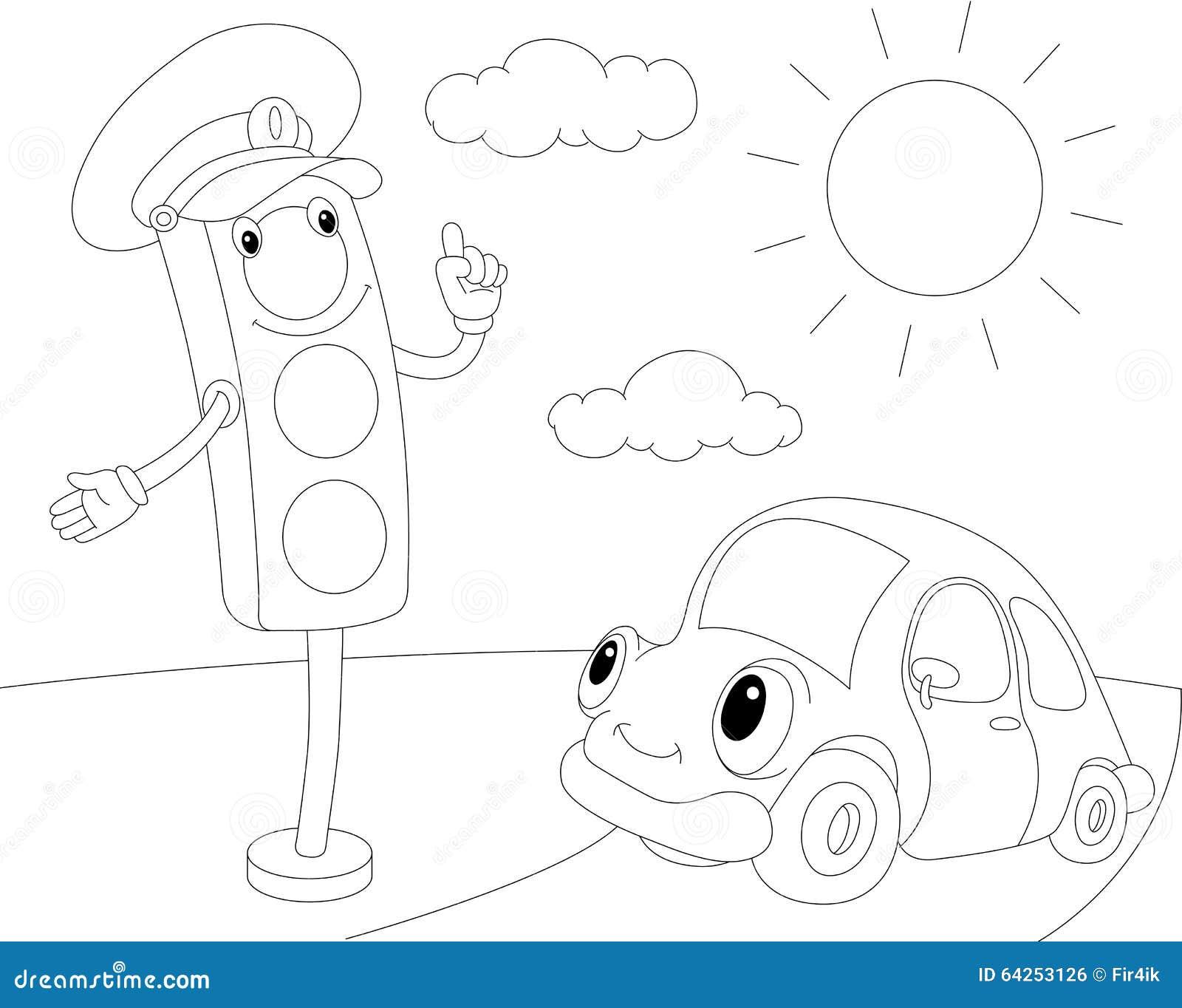 Automobile Del Fumetto E Semafori Libro Da Colorare Per I Bambini