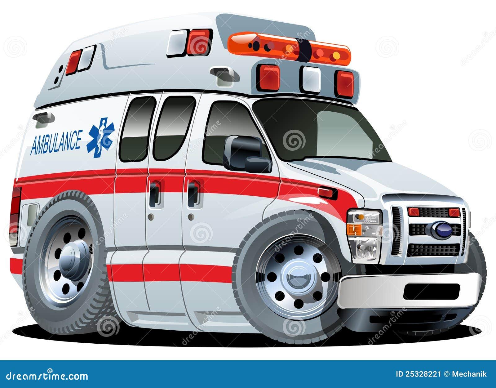 Automobile dell ambulanza del fumetto di vettore