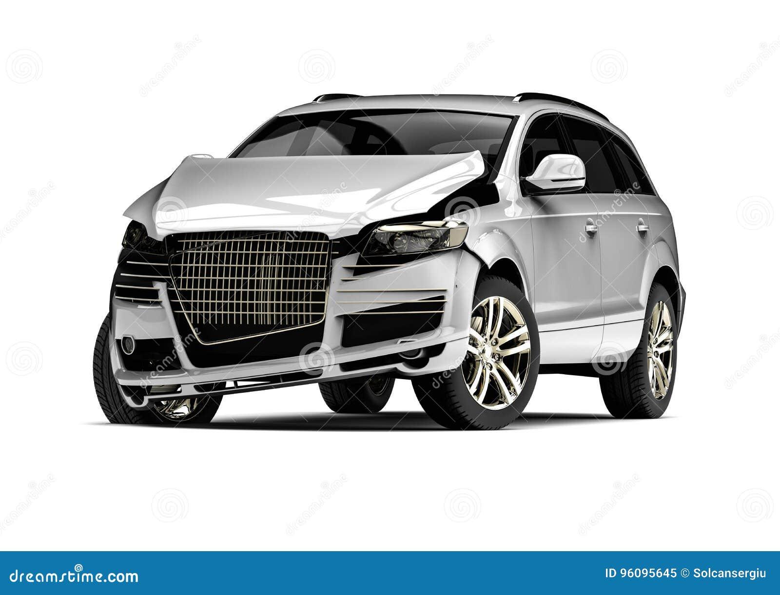 Automobile demolita bianca in un incidente