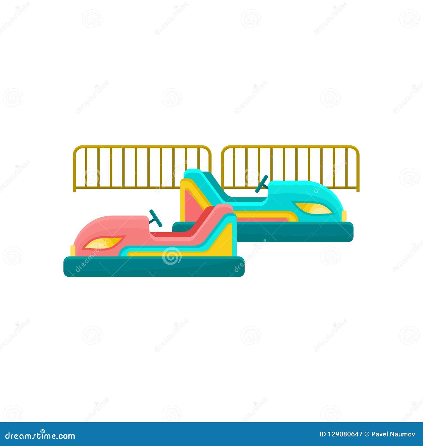 Automobile di paraurti, illustrazione di vettore dell elemento del parco di divertimenti su un fondo bianco