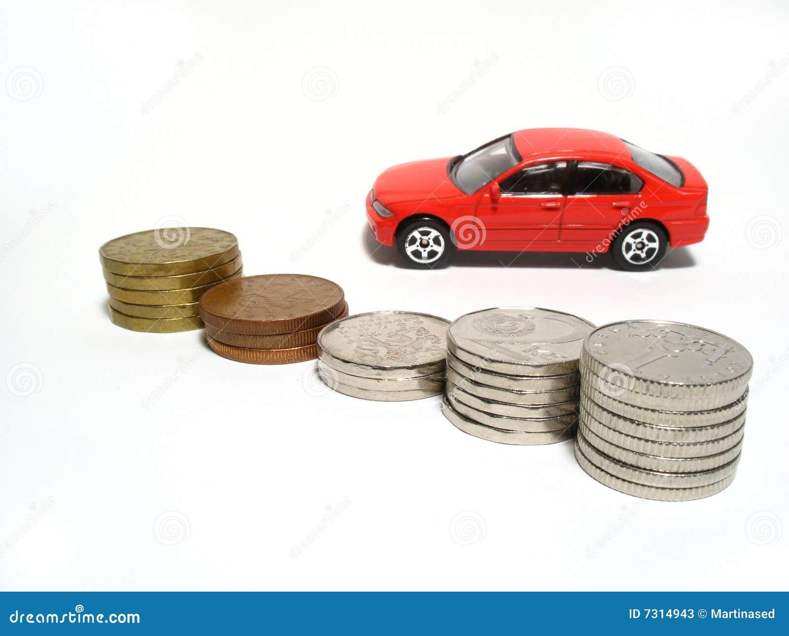 Automobile e monete del giocattolo