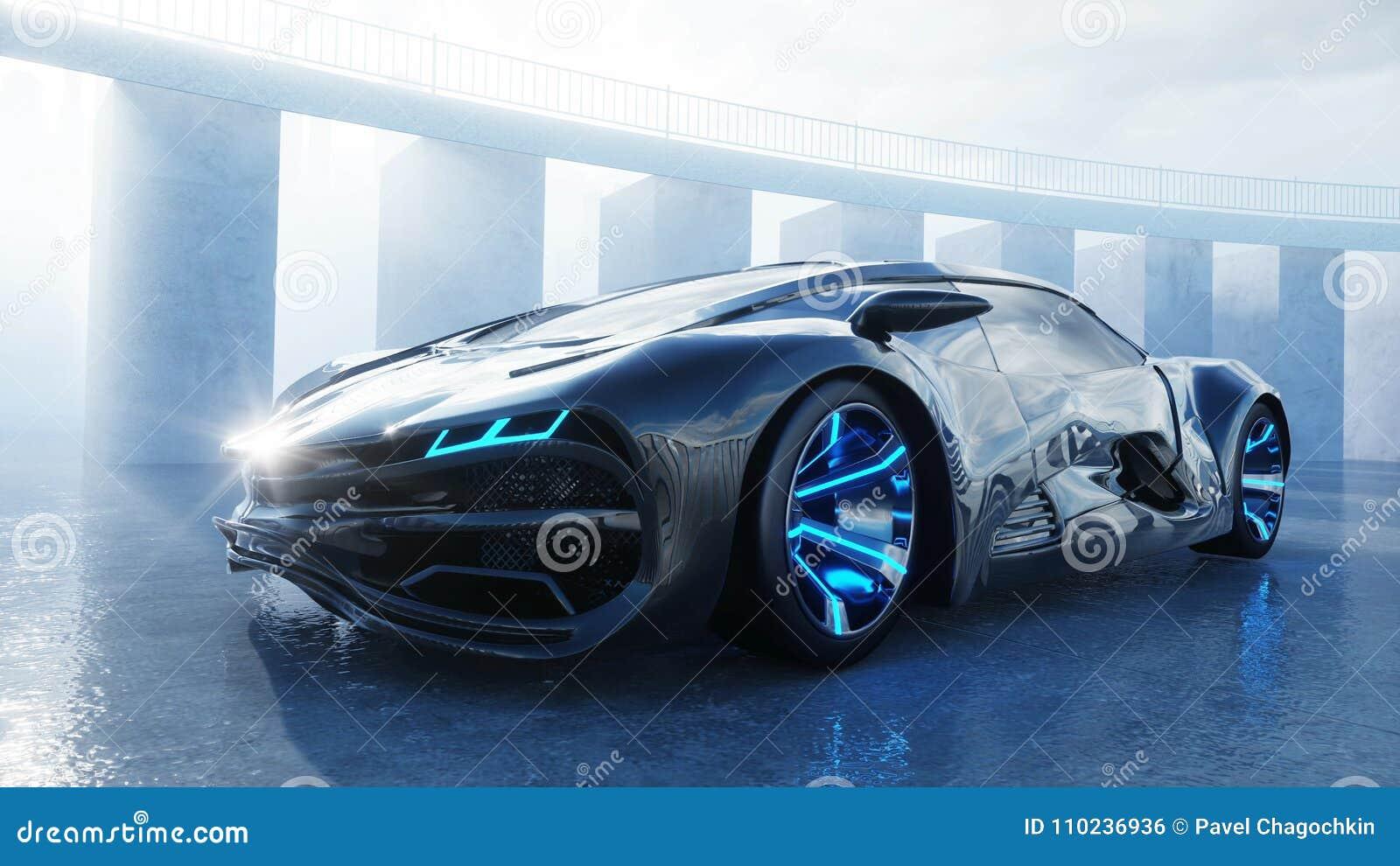 Automobile elettrica futuristica nera sul lungonmare Nebbia urbana Concetto di futuro rappresentazione 3d