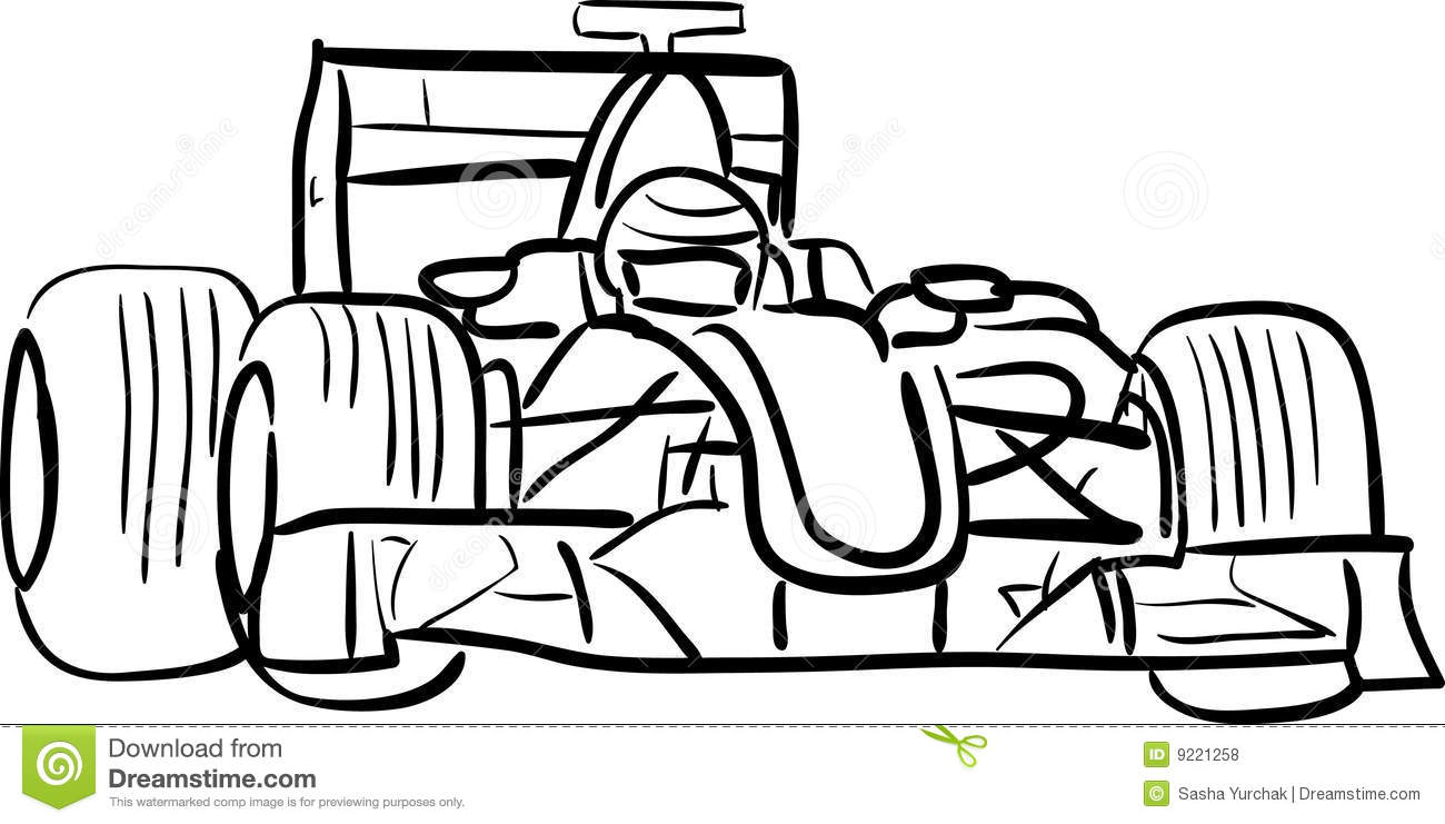 Automobile F1 Descritta Illustrazione Vettoriale Illustrazione Di