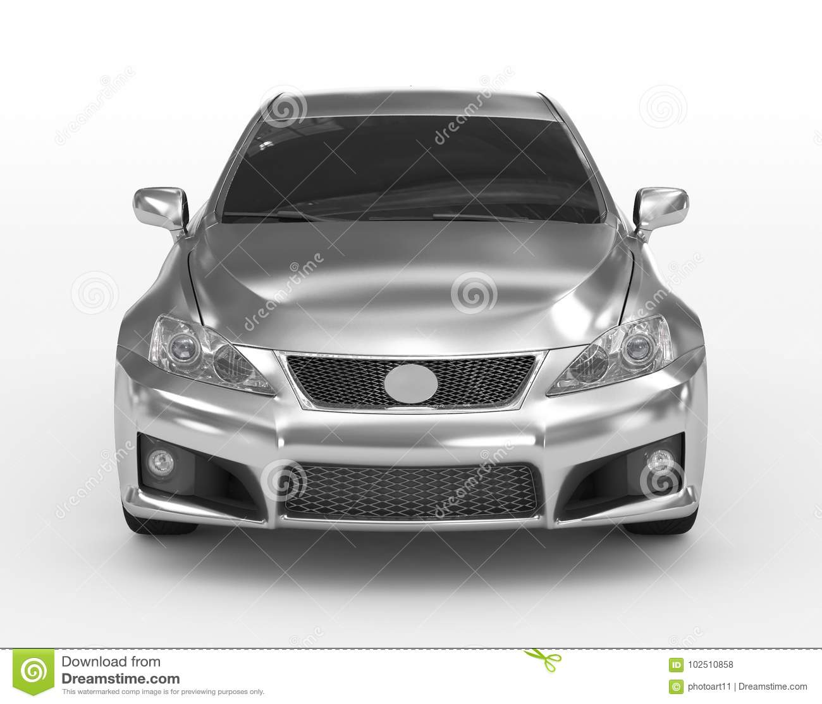 Automobile isolata su argento bianco-, vetro tinto - vista frontale