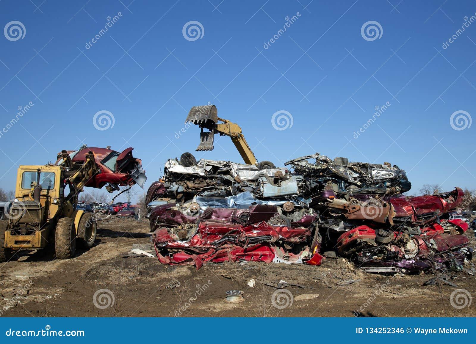 Automobile junk-yard stock photo  Image of dump, damaged