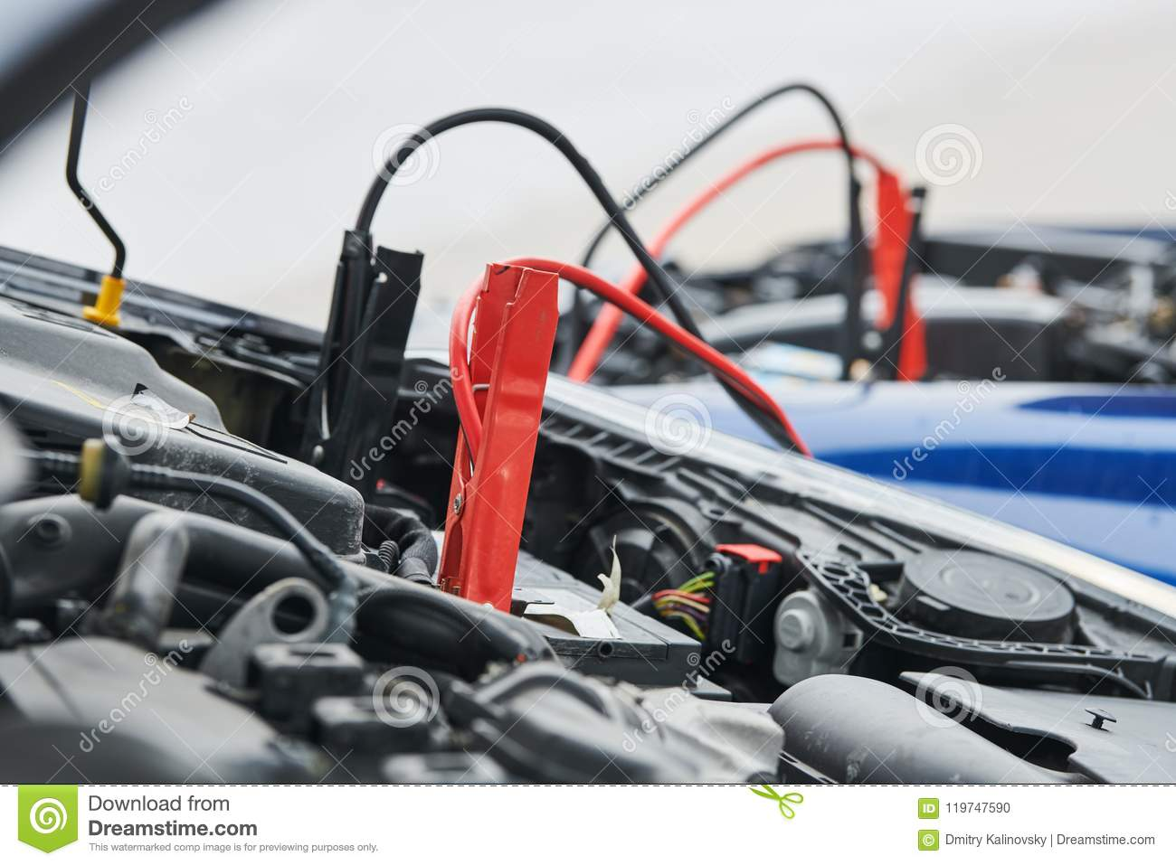 Automobile Help Booster Jumper Cables Charging Automobile
