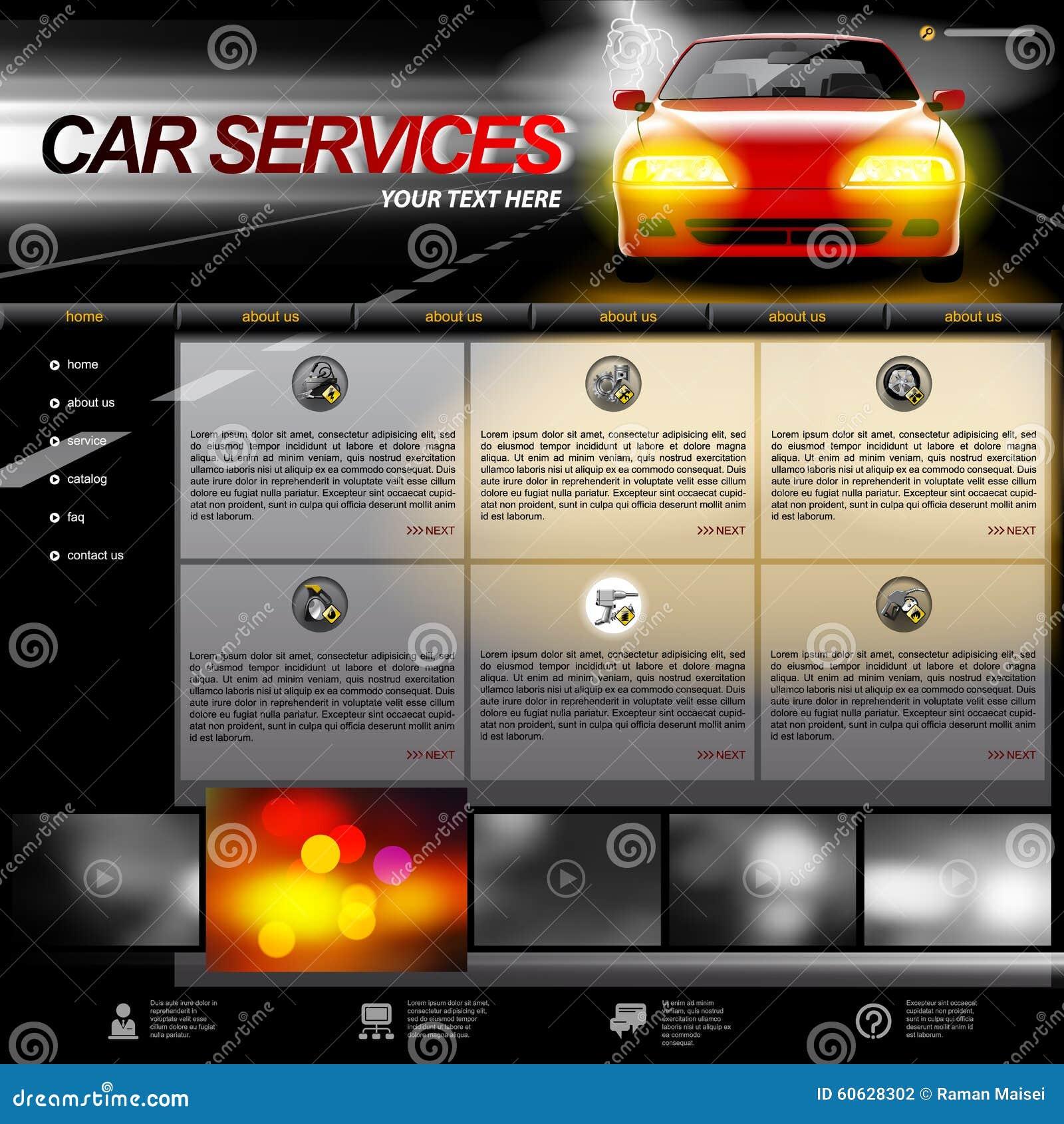 automobile service website template stock vector image 60628302. Black Bedroom Furniture Sets. Home Design Ideas