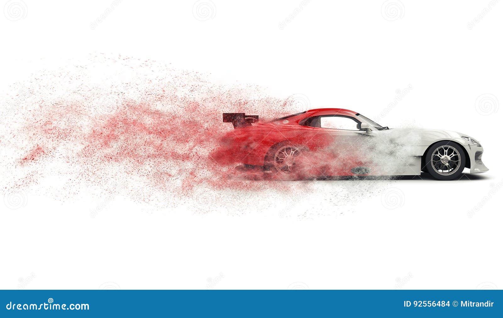 Automobile sportiva eccellente che si disintegra nella polvere rossa e bianca