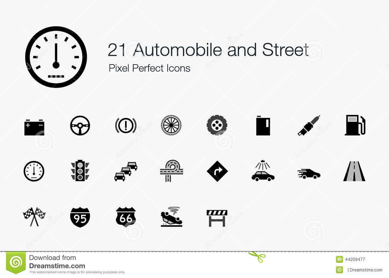 21 automobile and street pixel perfect icons stock vector
