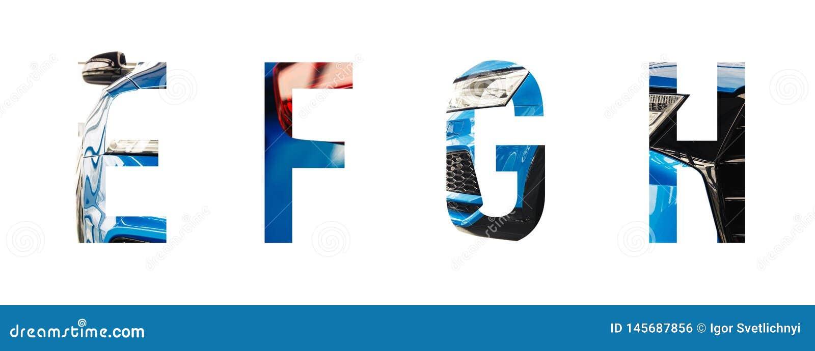 Automobilguß Alphabet e, f, g, h