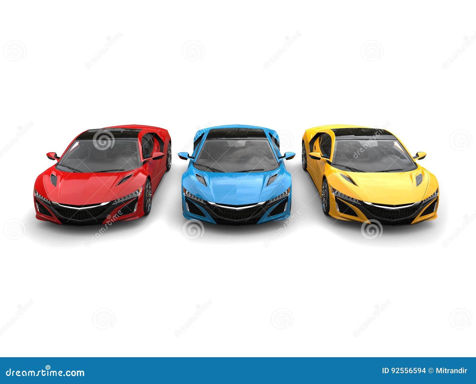 Automobili sportive eccellenti nei colori primari