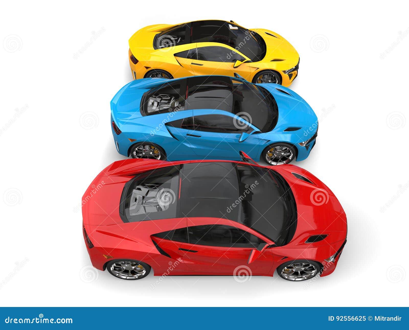 Automobili sportive eccellenti nei colori primari - completi giù la vista