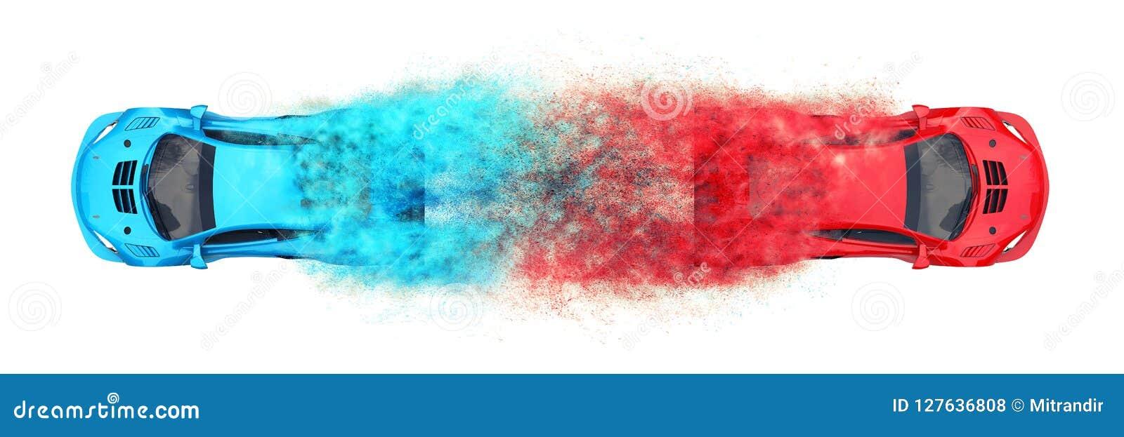 Automobili sportive moderne rosse e blu - effetto della particella