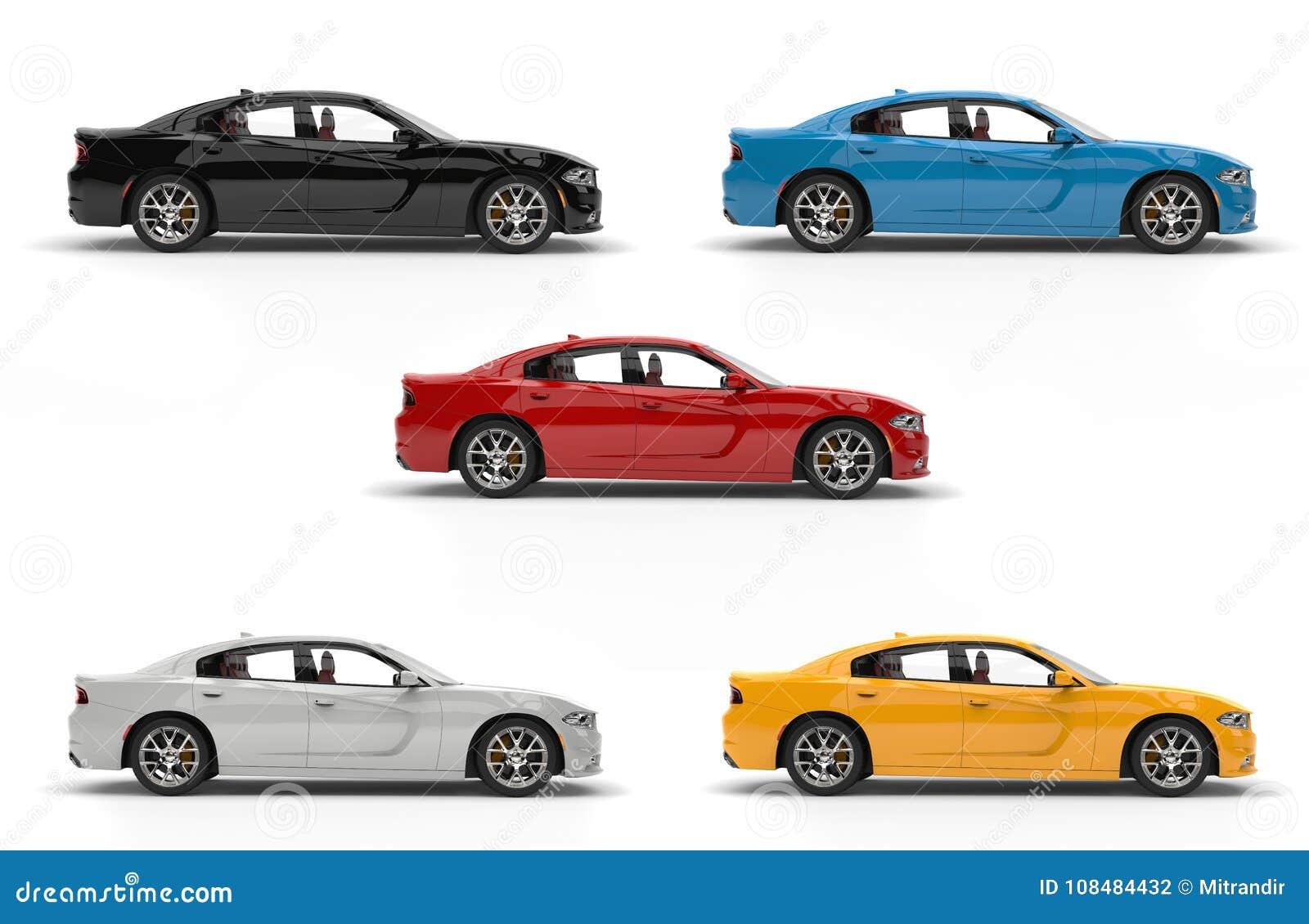 Automobili veloci moderne della città in nero, in bianco, in rosso, in giallo ed in blu