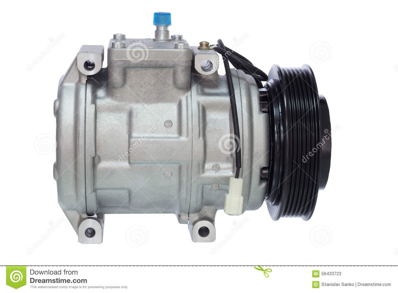 Automotive Air Conditioning Compressor On A White Stock