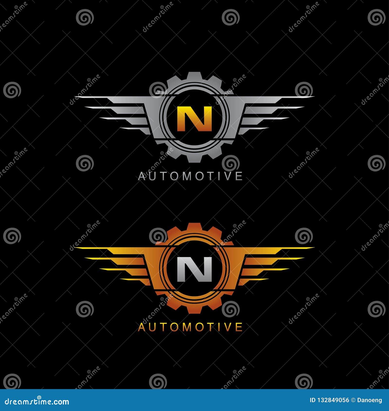 Automotive Gear Wing N Letter Logo Stock Illustration