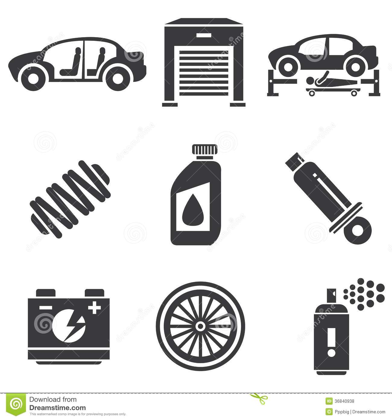 Automotive icons royalty free stock photos image 36840938 for Garage auto discount montpellier
