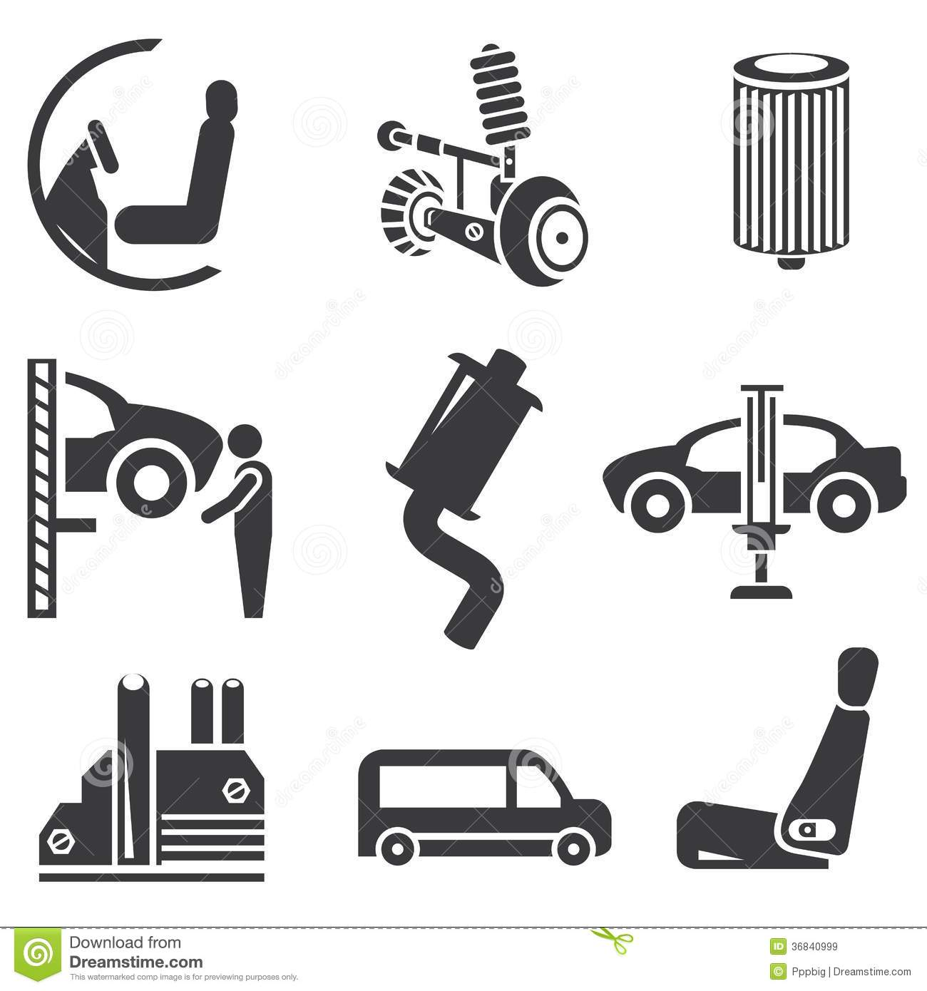 automotive icons stock illustration illustration of mechanic 36840999