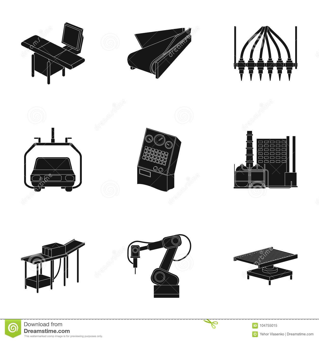 Automotive Industry And Other Web Icon In Black Style ...