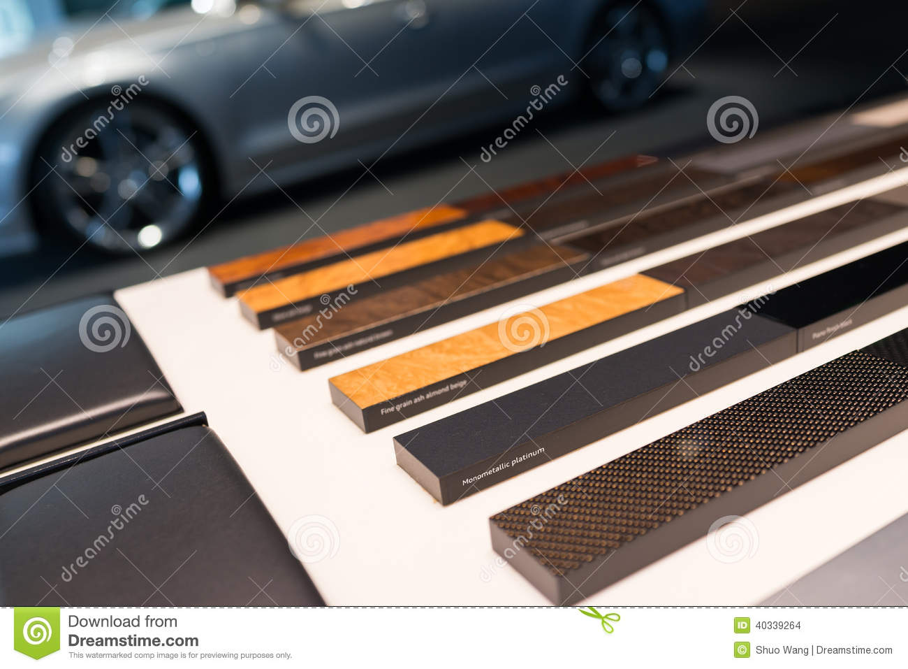 automotive interior materials samples stock photo image 40339264. Black Bedroom Furniture Sets. Home Design Ideas