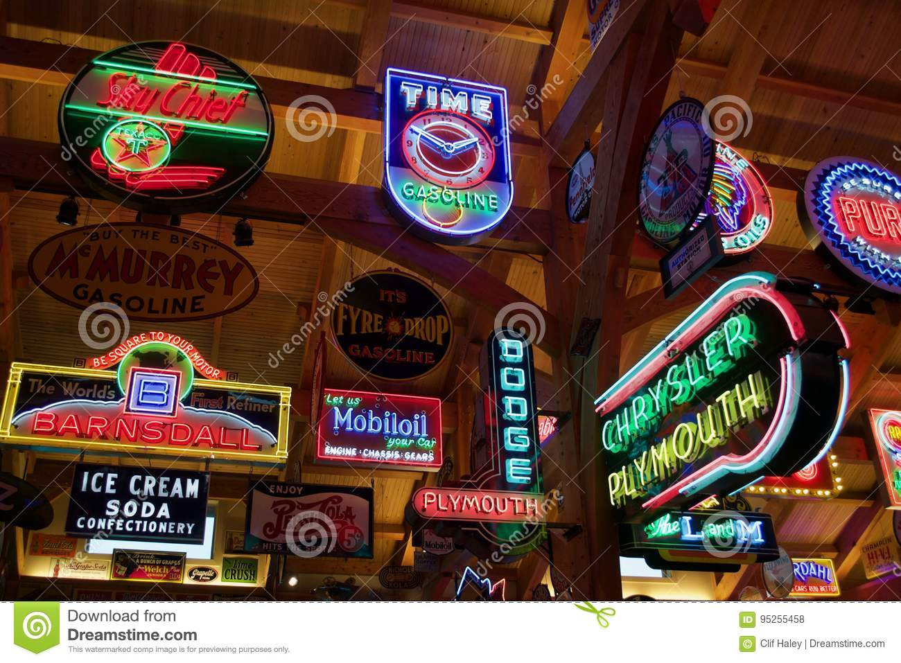 Automotive Neon Signs Editorial Stock Photo Image Of Hideout 95255458