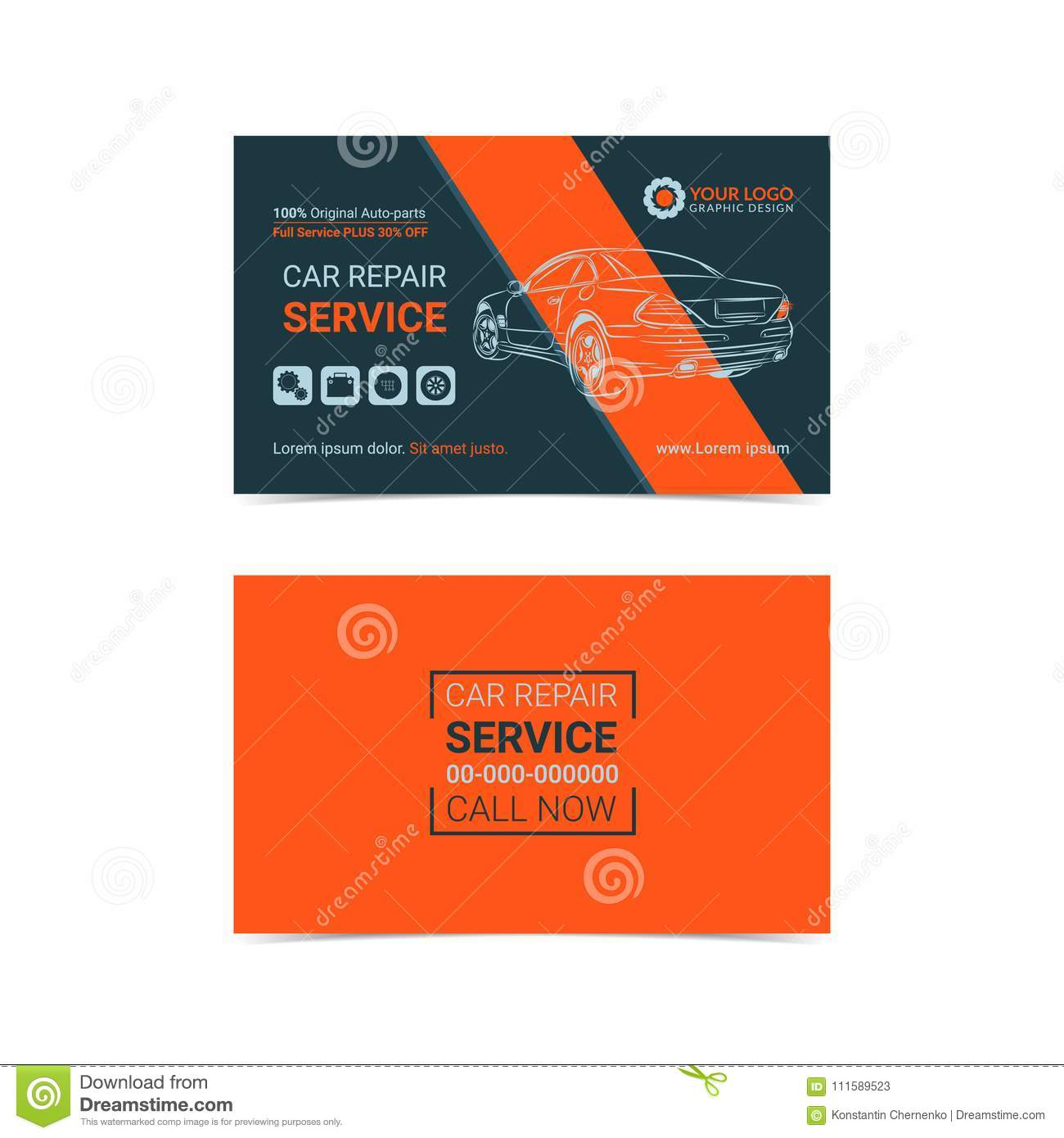 Automotive Repair Service Business Cards Layout Templates Create