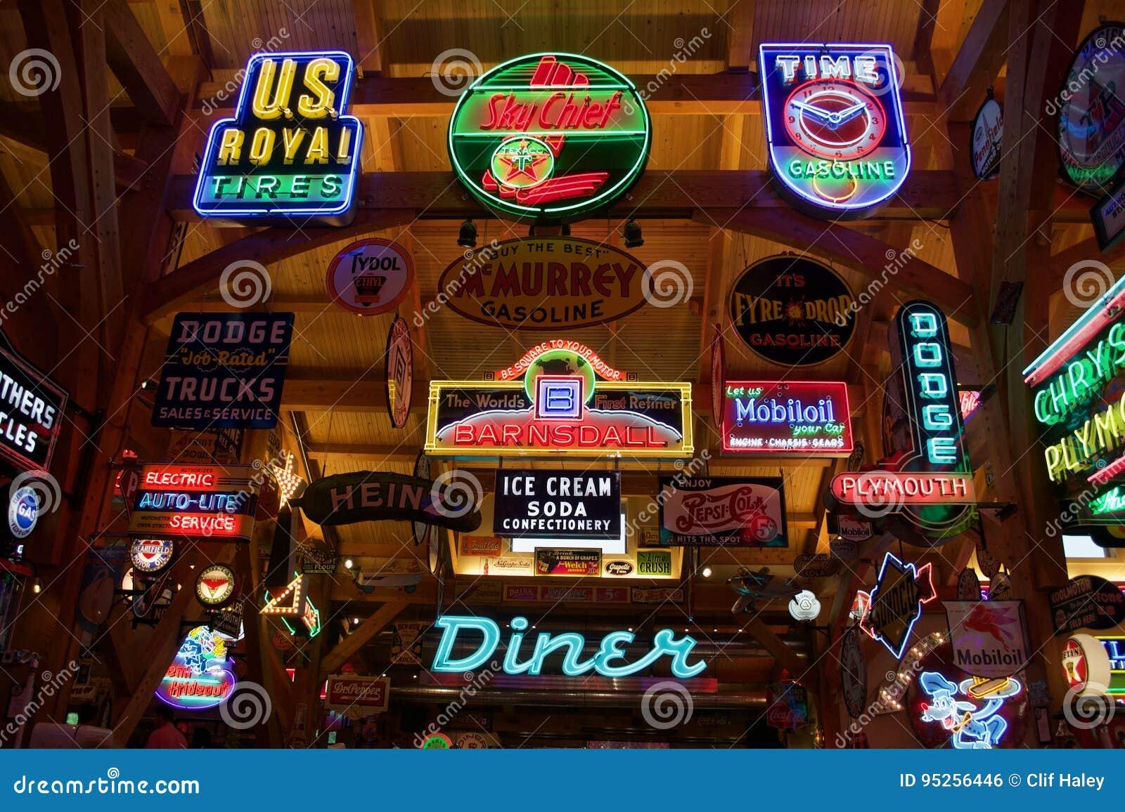 Automotive Retro Neon Signs Editorial Photo Image Of Texas