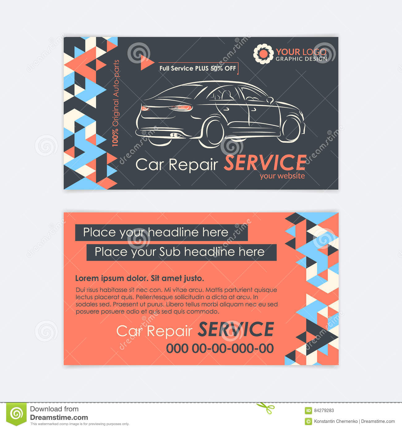 Automotive Service Business Card Template. Car Diagnostics And ...