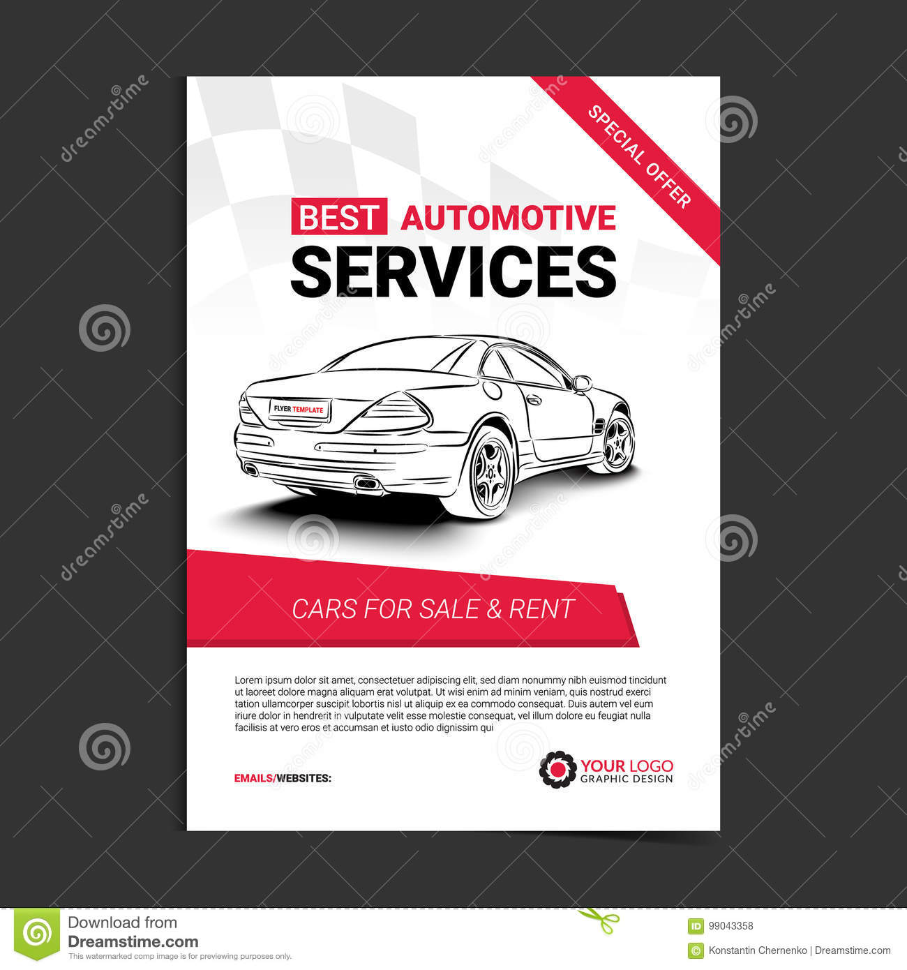 Automotive Services Layout Template Cars For Sale Rent Brochure Mockup Flyer Stock Vector Illustration Of Marketing Booklet 99043358