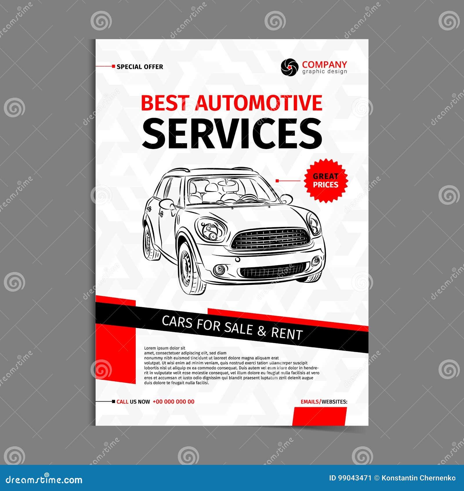 Automotive Services Layout Template Cars For Sale Rent Brochure Mockup Flyer Stock Vector Illustration Of Brochure Banner 99043471