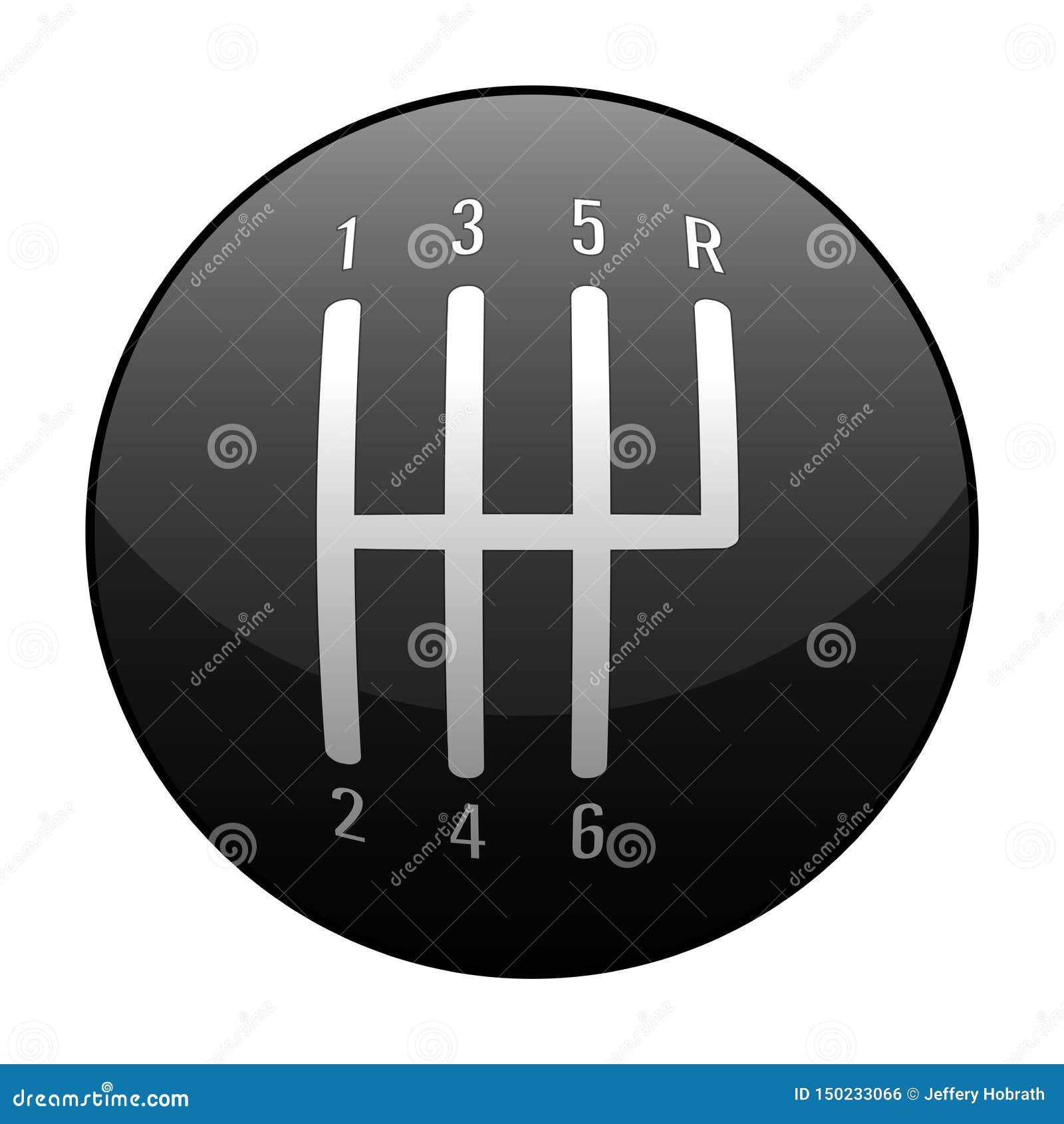 Automotive Standard Manual Transmission 6 Speed Shift Knob Vector Illustration